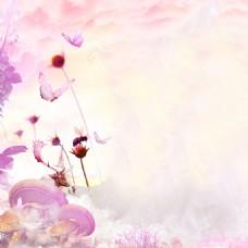 卡通紫色水彩梦幻背景