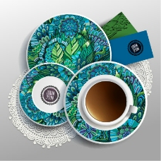 花纹咖啡杯具