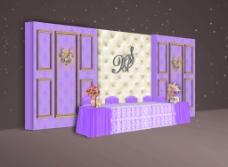 婚礼紫色软包签到台