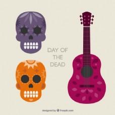 死者的那一天的头骨和吉他