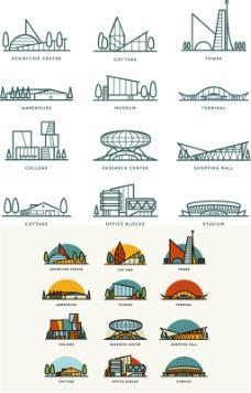 卡通建筑矢量图片 AI