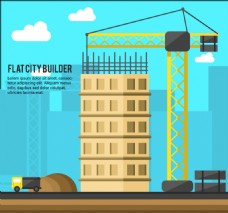 卡通建筑施工