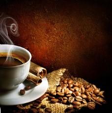 咖啡与咖啡豆背景