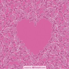 粉红色的花的背景周围的粉红色的心