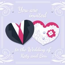 剪纸婚礼邀请卡