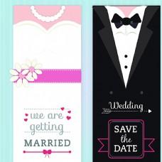 新娘与新郎婚礼邀请卡矢量素材图片