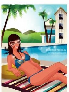 时尚女性 浪漫夏日 沙滩泳装 矢量人物 AI_81