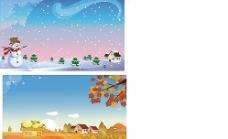 秋天背景 冬季海报图片