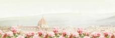 粉色花朵 花海教堂