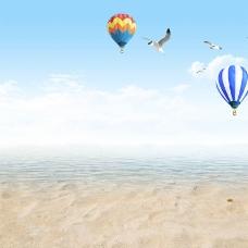 夏季海边风景主图背景素材