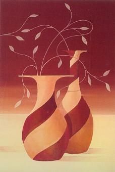 植物花瓶油画