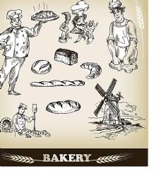 面包厨师插画