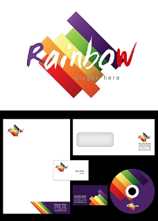 彩色斜条logo设计