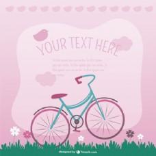 粉红色背景与鸟类和自行车