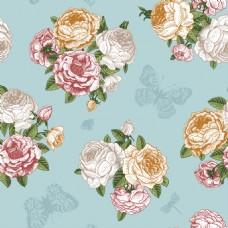 复古玫瑰花装饰背景图