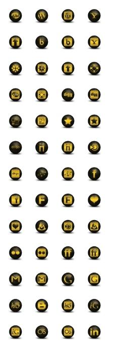 暗黄社会媒体图标下载