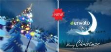 月亮上的圣诞节动画AE模板