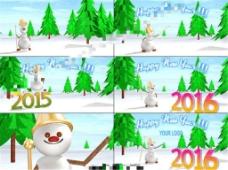 滑稽小雪人祝你2016新年快乐的3D动画AE模板