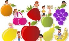 水果人物标签 卡通水果素材图片