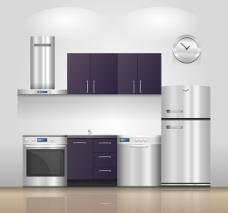 现代感厨房设计矢量素材