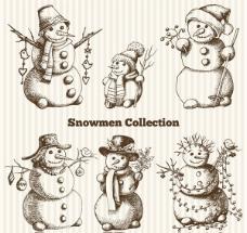 手绘圣诞雪人矢量素材下载