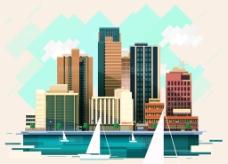 时尚扁平化城市插画矢量素材