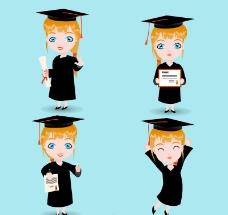 4款毕业女生设计矢量素材