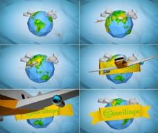 卡通折纸飞机飞离地球标志开场AE模板