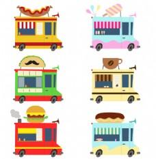 卡通食物快餐车矢量素材下载