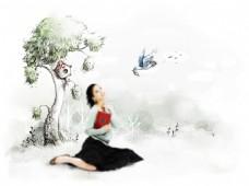 大树小鸟插画与美女等PSD分层素材