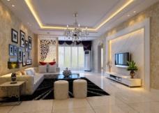 现代欧式客厅壁纸效果图图片