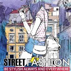 彩绘时尚街拍女郎矢量图图片