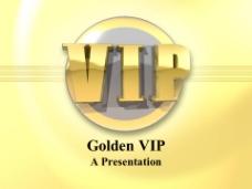 动态立体金色VIP字体标示牌ppt模板