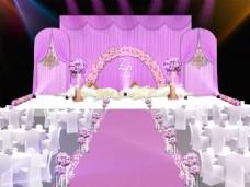 婚礼紫色舞台效果图