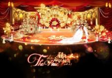 手绘金红色欧式宫殿大气婚庆场景设计