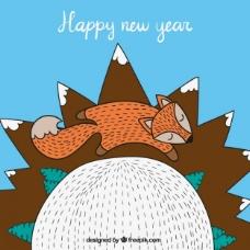 可爱的新的一年卡与一只狐狸