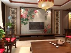 尚佳品革中式经典皮雕软包背景墙富贵荣华