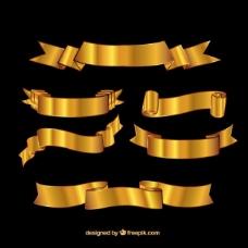 复古的金色丝带