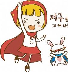 装扮成超人的卡通女孩