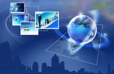 蓝色科技背景上的地球及相片