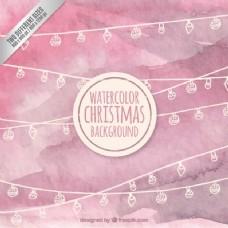 粉红水彩画圣诞背景