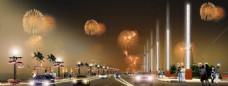 街道广场夜景图片