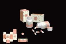 女性胶囊包装盒展开图图片