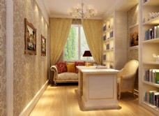 沙发茶几,室内设计,简约书房