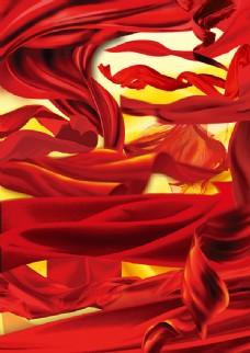 红丝绸集合PSD分层素材,