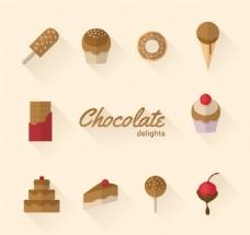 10款巧克力甜食图标矢量素材