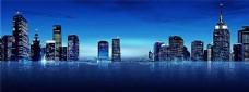 夜空城市剪影海报