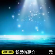 蓝色星光海水背景