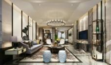 客厅 现代风格 效果图-施工图