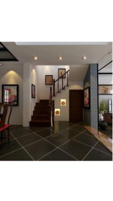 室内设计玄关楼梯设计3D效果图
